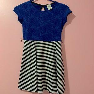 Blue floral black and white stripes dress